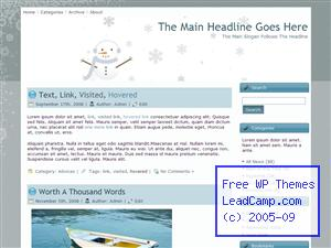Snowflakes On Winter Snowman Free WordPress Template / Themes