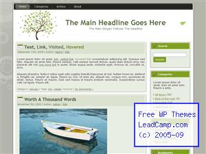 Green Wind And Leaves Free WordPress Template / Themes